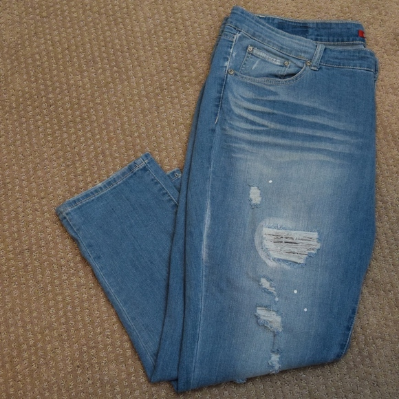 UNIONBAY Denim - Plus Size Distressed Midrise Vintage Peg Jeans